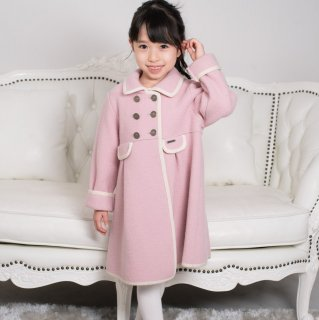 スペイン Marae マラエ ♪ピンク×白パイピングコート♪メリノウール100% ウールコート