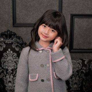 スペイン Marae マラエ ♪クラシック♪グレー×ピンク パイピングコート♪メリノウール100% ウールコート