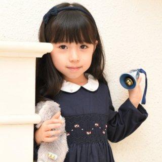 【モデル着用品】フランスKidiwi濃紺小花長袖スモッキングワンピースIRENEポケット付6Aサイズ