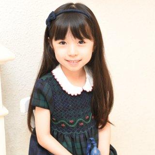 【モデル着用品】Les enfants de Gisele♪ブラックウォッチ♪半袖ピュアウール100ワンピース4Aサイズ
