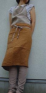 エプロン/リーノ・エ・リーナ/リトアニアリネン/麻/lino e lina 【カリーナ】オーカー【画像2】