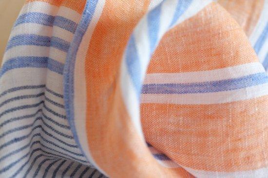 ハンカチ/麻/リーノ・エ・リーナ/リトアニアリネン/lino e lina 【フェリーチェ】オレンジ【画像2】