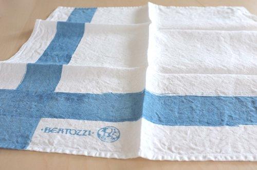 ブルー系 キッチンクロス/麻/ベルトッツィ/リネン/イタリア/BERTOZZI 【インクローチョ】 正方形 約46cmx約46cm