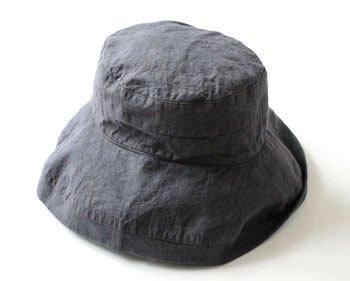マノン 帽子/麻/リーノ・エ・リーナ/リトアニアリネン/linoelina【マノン】チャコールグレイ