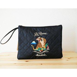 【LA ROCCA】スカジャン風!キルティング刺繍クラッチバッグ ブラック