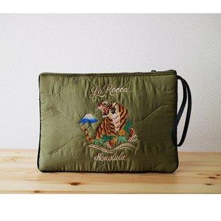 【LA ROCCA】スカジャン風!キルティング刺繍クラッチバッグ ミリタリー