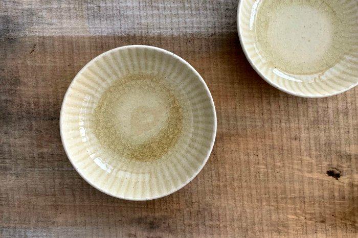 まる菊4.5寸深皿/灰釉 たくまポタリー