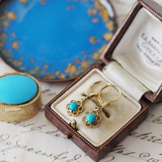 1900-20's 14K Flower Turquoise Pierced earrings
