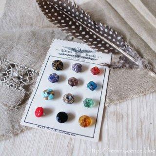 ミニマムなアートのようなチェコグラス・ヴィンテージ・ボタンセット C/ Vintage Glass Button from Czechoslovakia