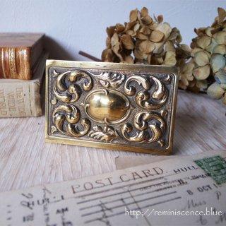 気品溢れる小さな矩形/Antique Brass Match Case