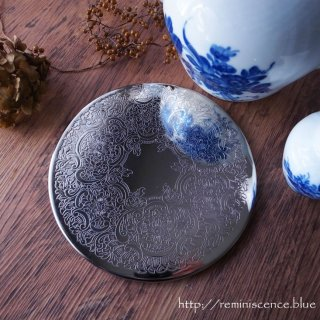 気品あふれるエングレーヴドシルバーの円座/ Vintage Silver Plated Table Place Mat D