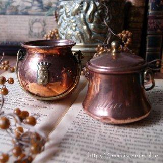 お料理上達へのマスコット / Antique Miniature Pair of Copper Pan