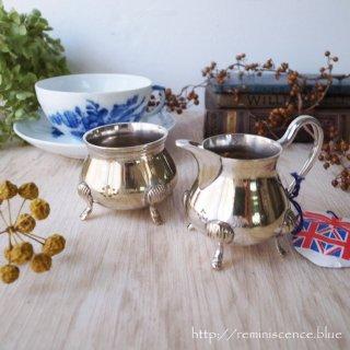 アフタヌーンティーの名脇役 / Vintage Silver Plated Sugarbowl & Creamer brama England