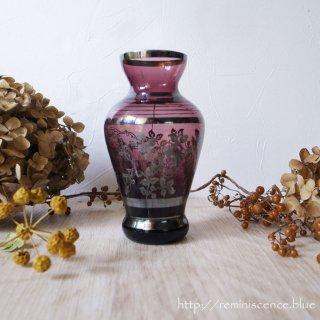 宝石の色合いと職人の手技が光る薔薇のアートピース / Antique Amethyst & Silver Overlay Art Glass Vase