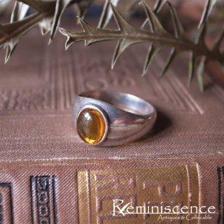 琥珀色のガラスとシルバーと / Vintage Sterling Silver Ring