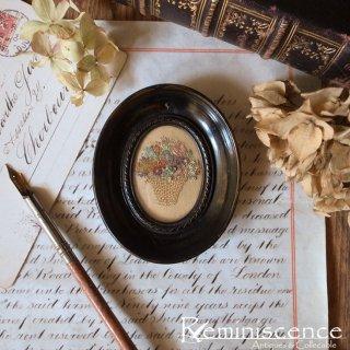 小さな花籠はいかが / Vintage Oval Framed Needlework Miniature