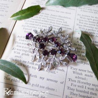 パープルの輝きを胸に / Vintage Purple & Clear Rhinestone Brooch
