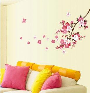 ウォールステッカー 桃の花と蝶々 壁シール 春 和風 ピンク ちょうちょう 小さめサイズ 貼り直せる インテリアステッカー