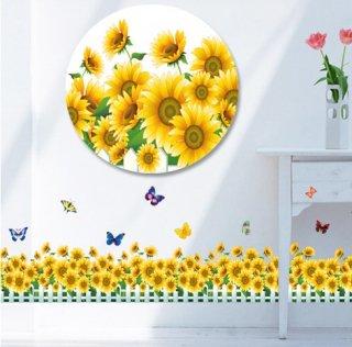 ウォールステッカー ひまわりと蝶々 花壇風 壁紙シール 向日葵 黄色い花 ちょうちょう かわいい ガーデン風 剥がしやすい 壁ステッカー