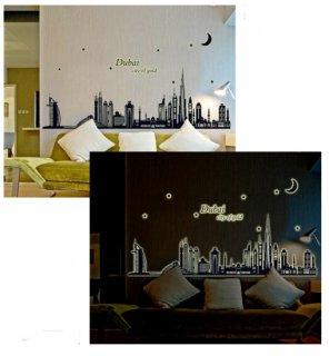 ウォールステッカー まるでドバイにいる気分 中東の夜景 蛍光シール 夜に光る 街並み アラビアン タワー 雰囲気一変 貼りなおせる 蓄光ステッカー
