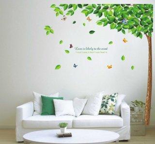 ウォールステッカー ツリーと蝶々 壁シール 大人気 緑葉の木 カラフルな ちょうちょう 貼り直せる デコステッカー 自然