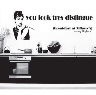 ウォールステッカー オードリーヘップバーン 壁シール 北欧 映画 女優 モノトーン 有名人 ティファニーで朝食を 剥がしやすい デコステッカー