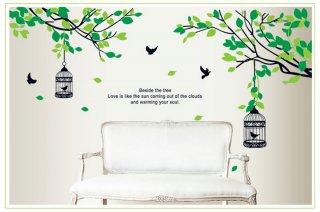 ウォールステッカー グリーンリーフの木と鳥かご 壁シール 大人気 鳥籠 癒される 緑葉 リビング 寝室に はがせる 壁ステッカー