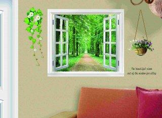 ウォールステッカー 窓 森林の風景  壁紙シール 鉢植えと花 緑の葉 癒される 景色 森林浴 開放感 はがせる ウォールシール