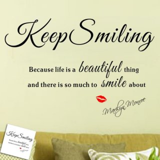 転写式 ウォールステッカー マリリンモンロー 名言 Keep Smiling 英文字 英語 メッセージ 北欧 上品 ハイセンス 女子力UP