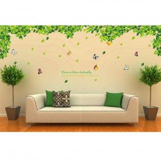 ウォールステッカー 大サイズ グリーンリーフと蝶 壁シール ガーデン風 緑葉 自然 綺麗な 蝶々 葉っぱ ナチュラル 剥がせる インテリアステッカー