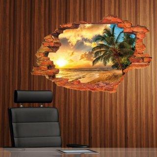 ウォールステッカー サンセットビーチ 3D 壁シール 夕日 海 ヤシの木 綺麗な サンシャイン リゾート気分 南国 太陽 立体 壁ステッカー