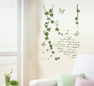 ウォールステッカー ハートリーフの蔦と蝶々 壁紙シール アイビー 緑葉 はがせる レンガ模様 お手軽にDIY 店舗装飾 カフェ バーにも