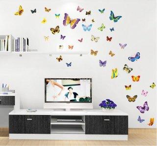 ウォールステッカー 色とりどりの蝶々 バタフライ シール 綺麗な ちょう 壁面 小物 PCタブレットにも 転居 一人暮らしのお共 デカール