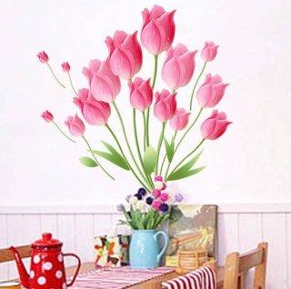 ウォールステッカー 桃色チューリップ 壁紙シール 貼る 観葉植物 綺麗な彩り 瑞々しい 花びら ダイニング 玄関に はがせる デコデカール