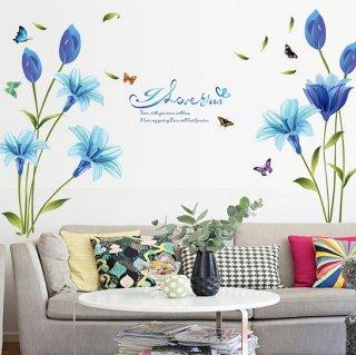 ウォールステッカー 青い百合の花 壁紙シール 風に舞う ちょう ロマンチックな 英文字 ポエム 清爽な ユリ ソファー上やテレビ横に
