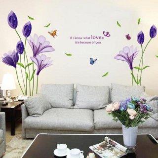 ウォールステッカー 紫のユリの花 蝶 壁紙シール ラブリー はなびら 蕾 お洒落な ハート 葉っぱ 北欧 英文名言 はがせる 観葉植物 内観