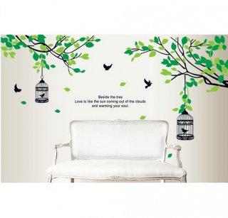 ウォールステッカー グリーンリーフの木 茶色い鳥かご 壁シール 大人気 癒される 緑葉 リビング 寝室に はがせる 壁ステッカー