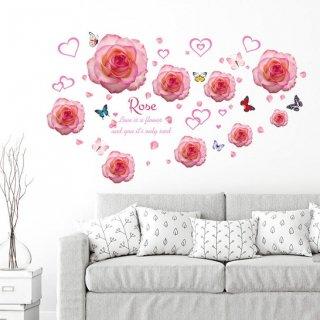 ウォールステッカー ピンクの薔薇の花と蝶々 壁シール ハート 可愛い ローズ バラ デコレーション 傷隠し 模様替え 女の子 室内装飾