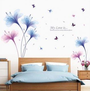 ウォールステッカー 美しい 夢の蘭 インテリアシール 花と蝶 青紫色 貼って剥がせる 北欧 オシャレな 植物 雑貨 リビング 寝室 部屋飾り
