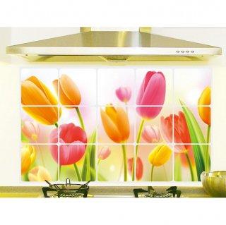 ウォールステッカー 温かい チューリップの花 防油 防汚 防水 台所用 キッチンシート 貼り付け 装飾 コンロまわり おしゃれ 掃除簡単