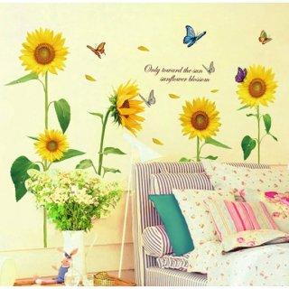 ウォールステッカー ひまわり畑 蝶と英文字 壁に貼るシール 黄色い 花の絵 はがせる 園芸 風景 インテリア雑貨 リビング 賃貸部屋可
