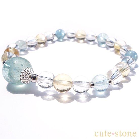 アクアマリン、シトリン、アイスクリスタルを使ったブレスレットの写真2 cute stone