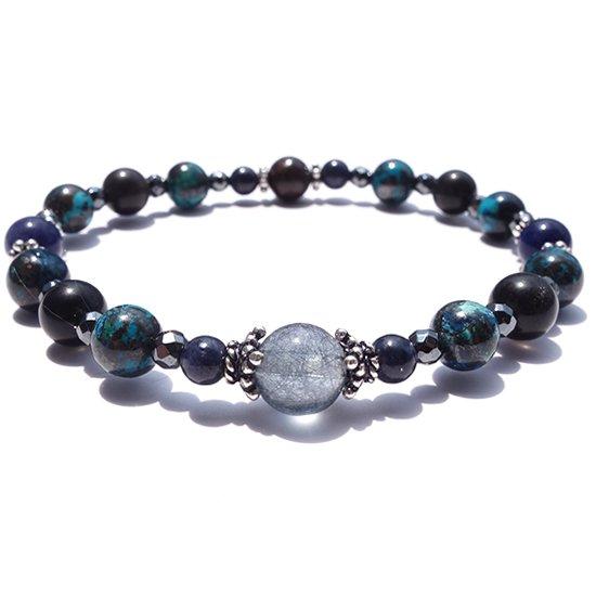 「Cosmo bracelet」ブルールチル サハラNWA869 クリソコラ スキャポライトのブレスレット