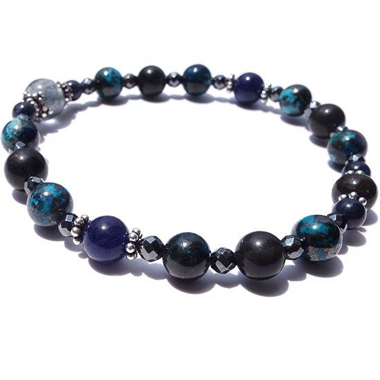 「Cosmo bracelet」ブルールチル サハラNWA869 クリソコラ スキャポライトのブレスレットの写真0 cute stone