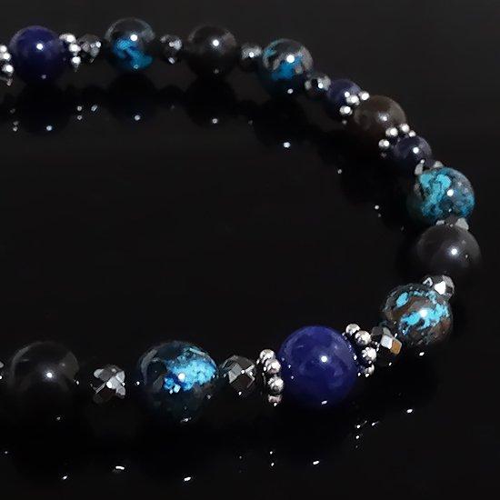 「Cosmo bracelet」ブルールチル サハラNWA869 クリソコラ スキャポライトのブレスレットの写真3 cute stone