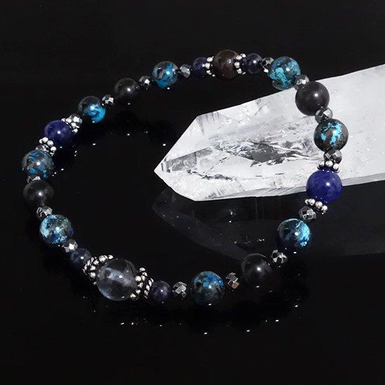 「Cosmo bracelet」ブルールチル サハラNWA869 クリソコラ スキャポライトのブレスレットの写真4 cute stone