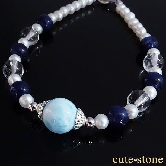【Infinity∞Ocean】ラリマー 淡水真珠 ソーダライト アイスクリスタルを使ったブレスレットの写真3 cute stone