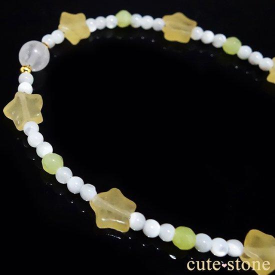 【月とお星様】ブルームーンストーン イエローカルサイト マザーオブパール オリーブジェイドを使ったブレスレットの写真0 cute stone