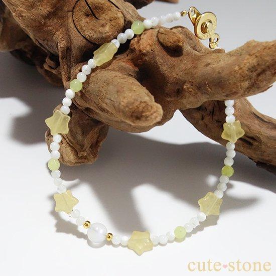 【月とお星様】ブルームーンストーン イエローカルサイト マザーオブパール オリーブジェイドを使ったブレスレットの写真3 cute stone