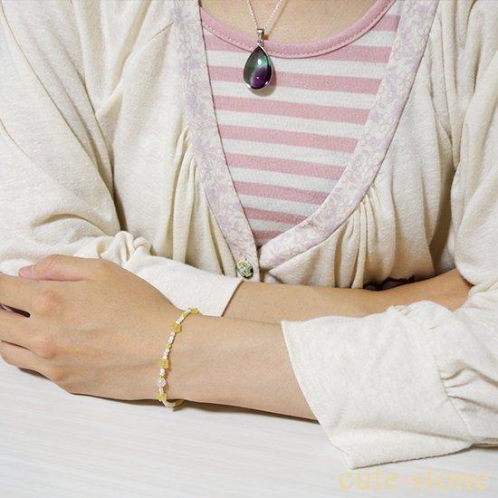 【月とお星様】ブルームーンストーン イエローカルサイト マザーオブパール オリーブジェイドを使ったブレスレットの写真5 cute stone